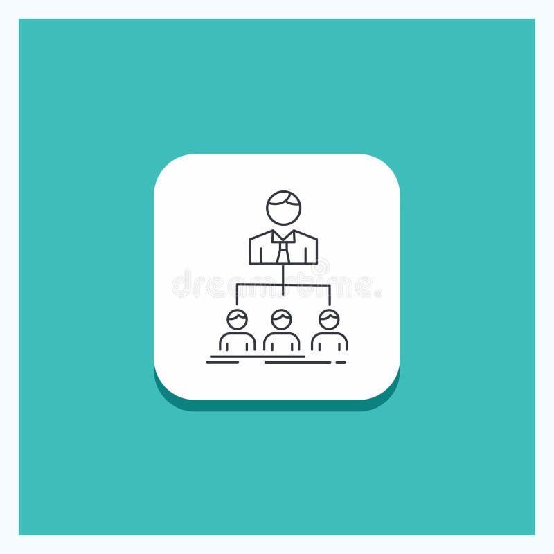 Runder Knopf für Team, Teamwork, Organisation, Gruppe, Firmalinie Ikone Türkis-Hintergrund vektor abbildung