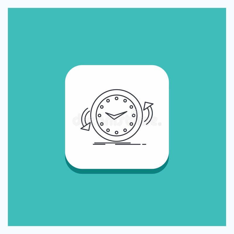 Runder Knopf für Unterstützung, Uhr, rechtsläufig, Gegen, Zeit Linie Ikone Türkis-Hintergrund stock abbildung