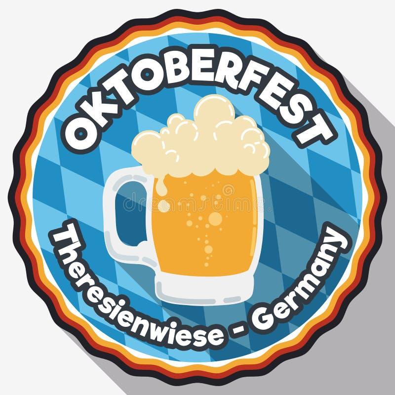 Runder Knopf mit schaumigem Bier für Oktoberfest in der flachen Art, Vektor-Illustration lizenzfreie abbildung