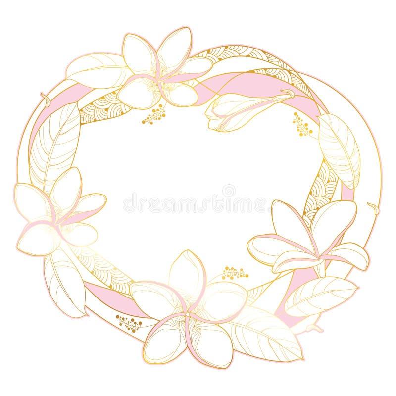 Runder Kranz des Vektors der Entwurf Plumeria- oder Frangipaniblume Bündel, Knospe und aufwändiges Gold- und rosablatt lokalisier lizenzfreie abbildung