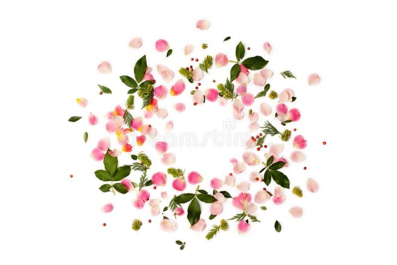 Runder Mit Blumenrahmen Mit Den Rosafarbenen Blumenblättern Und Grün ...