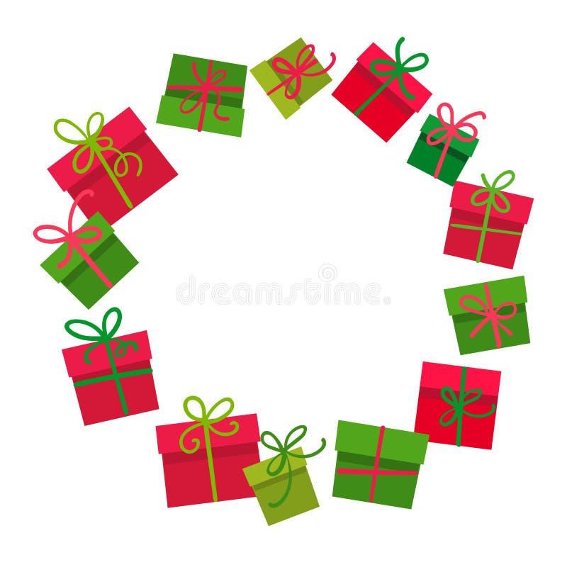 Runder Rahmen der Weihnachtsgeschenkkästen mit leerem Raum für Text, Kreis von bunten Präsentkartons mit rotem und grünem Bogen stock abbildung
