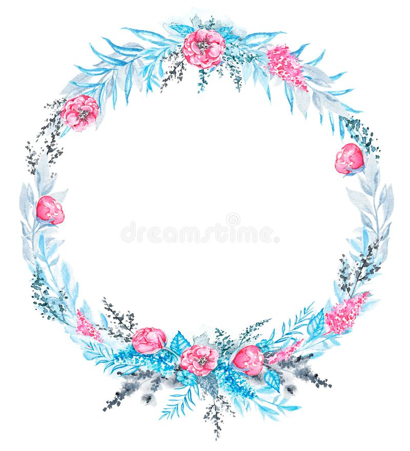 Runder Rahmen des Aquarells mit Blauem, Rosa und schwarzen Blumen lizenzfreie abbildung