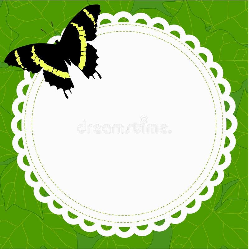 Runder Rahmen des schönen Frühlinges mit einem Schmetterling auf einem Hintergrund von vektor abbildung