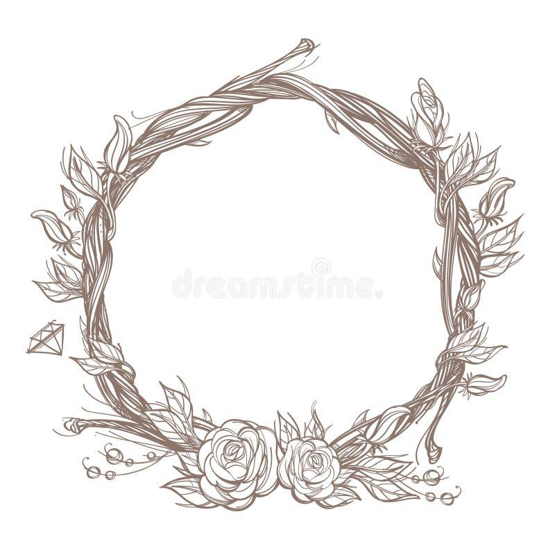 Runder Rahmen gemacht von den Niederlassungen mit Rosen und den Blumenknospen Dekoratives Entwurfselement für Planungsarbeit in d lizenzfreie abbildung