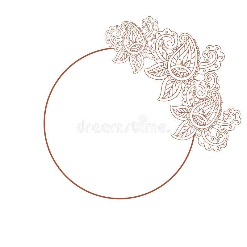 Runder Rahmen mit Bildhennastrauchtätowierungs-Blume Gekritzel auf einem weißen b lizenzfreie abbildung