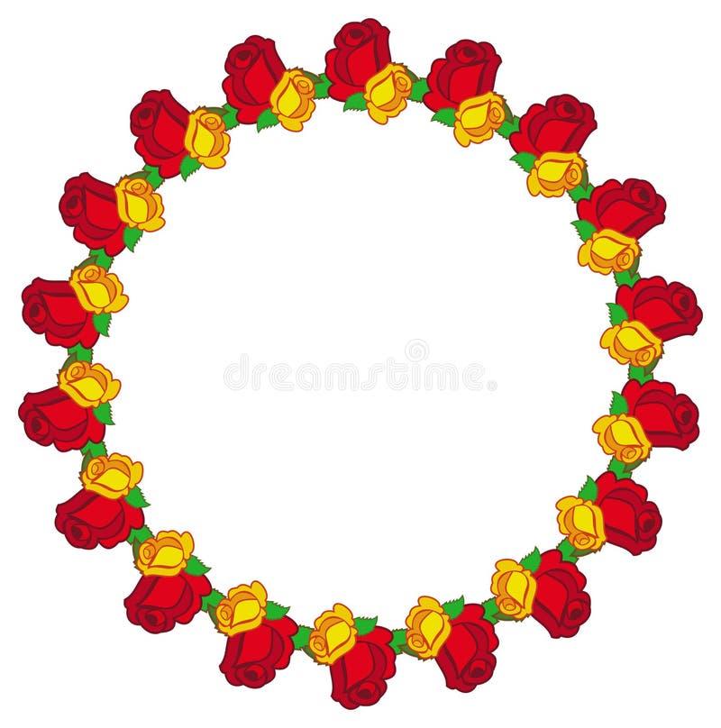 Runder Rahmen mit den roten u. gelben Rosen Kopieren Sie Platz stock abbildung