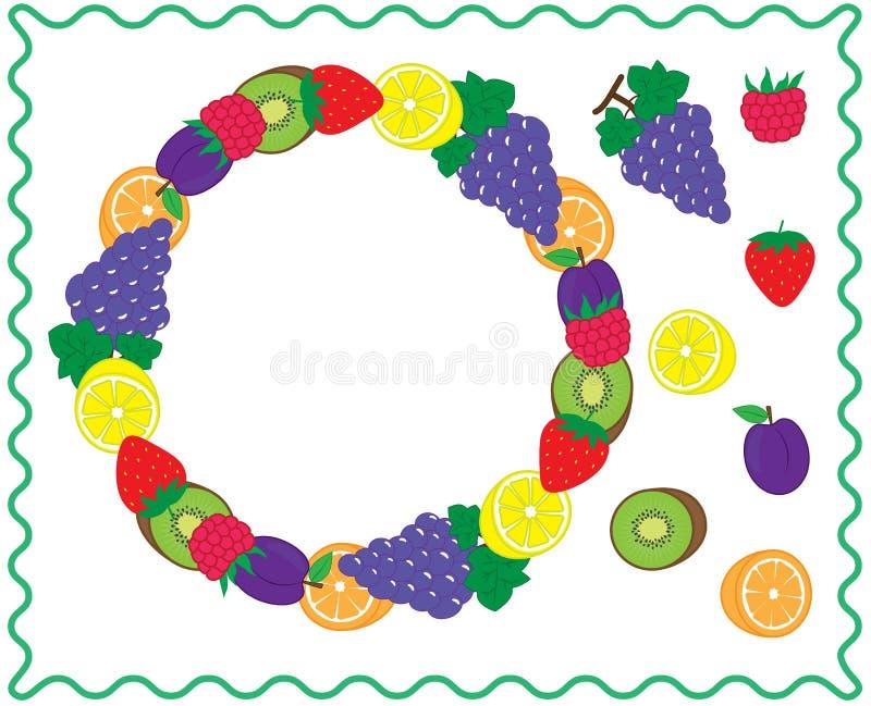 Runder Rahmen mit Früchten und Beeren Fruchtkreis für Ihren Entwurf und Ikonen Vektor stock abbildung
