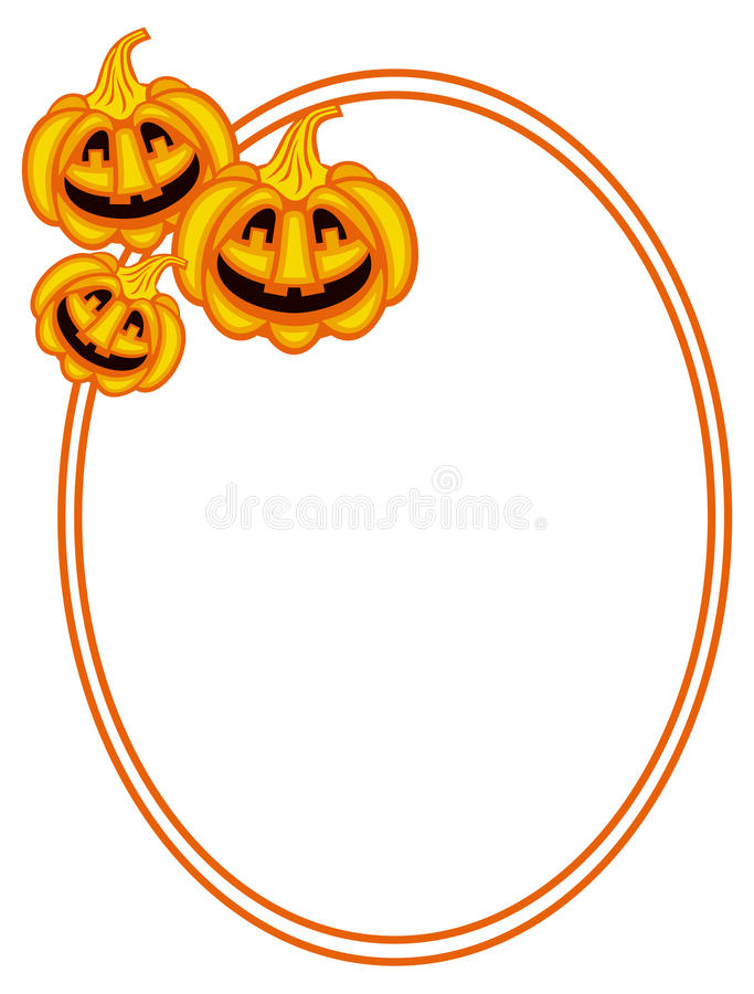 Runder Rahmen mit Halloween-Kürbisen stock abbildung