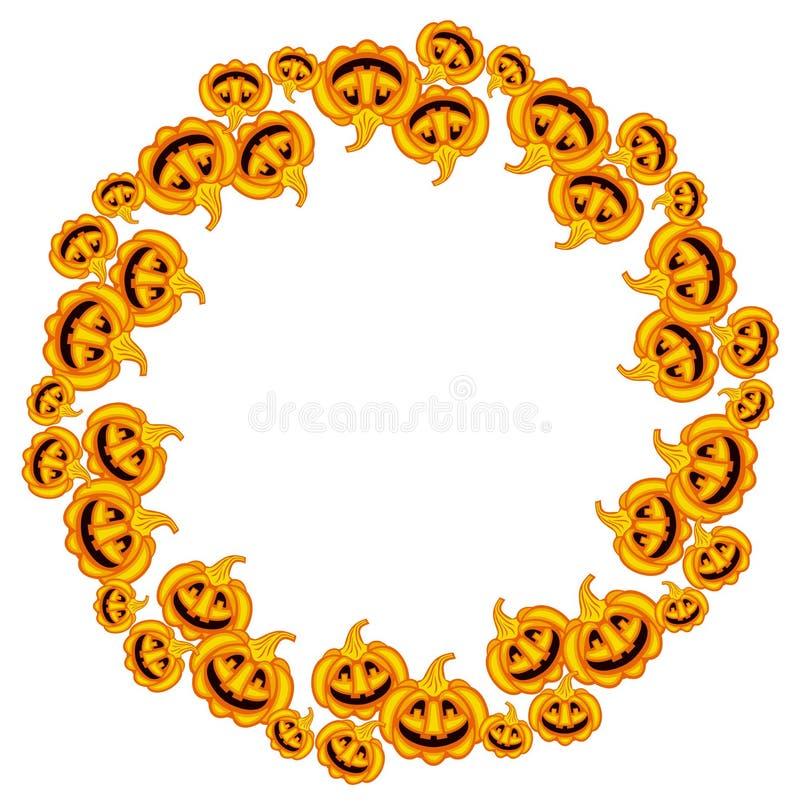 Runder Rahmen mit Halloween-Kürbisen vektor abbildung