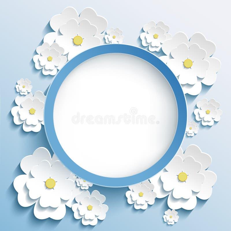 Runder Rahmen mit Karte 3d Kirschblüte, der Einladung oder des Grußes lizenzfreie abbildung