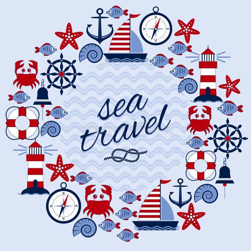 Runder Rahmen mit Marinethema Nahaufnahme des roten Seils Anker, Lenkrad, Schiff, Leuchtturm, Krabbe, Starfish, Fische, Kompass,  lizenzfreie abbildung