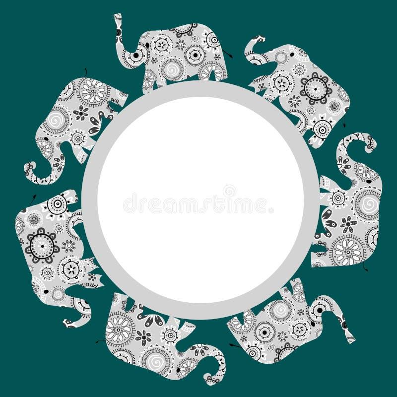 Runder Rahmen mit Ornamental kopierten Elefanten stock abbildung