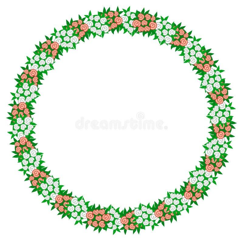 Runder Rahmen mit Rosenblumensträußen lizenzfreie abbildung