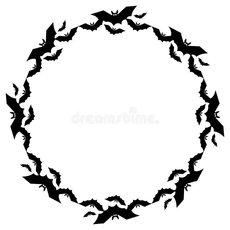 Runder Rahmen mit Schattenbildern von Fliegenschlägern stock abbildung