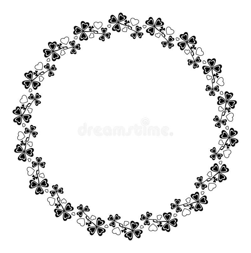 Runder Rahmen mit Shamrocks lizenzfreie abbildung