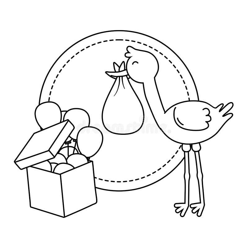 Runder Rahmen mit Storch in Schwarzweiss lizenzfreie abbildung
