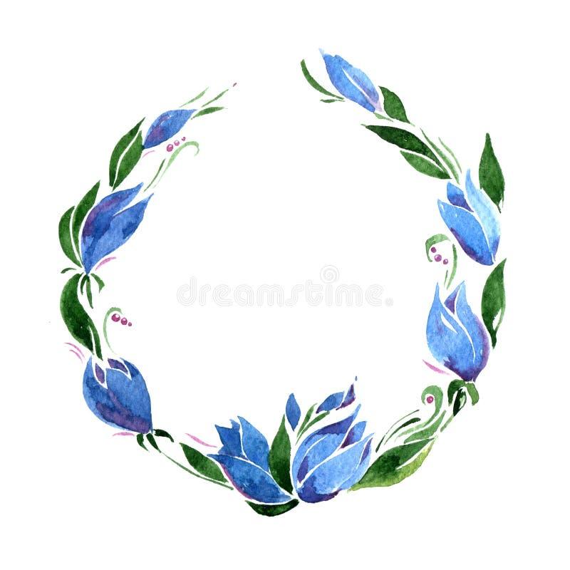 Runder Rahmen von blauen Glockenblumen und von Grünblättern watercolor isolat lizenzfreie abbildung