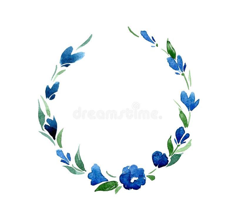 Runder Rahmen von blauen Glockenblumen und von Grünblättern watercolor isolat vektor abbildung