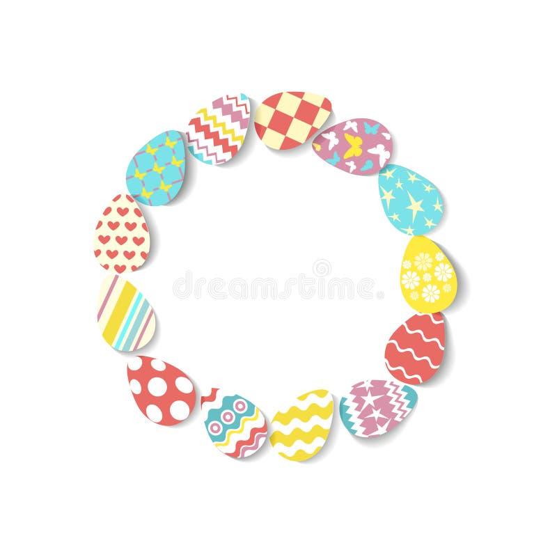 Runder Rahmen von bunten Eiern auf weißem Hintergrund Eiikonen in der Koralle, Gelb, Türkis, rosa Farben mit unterschiedlichem lizenzfreie abbildung