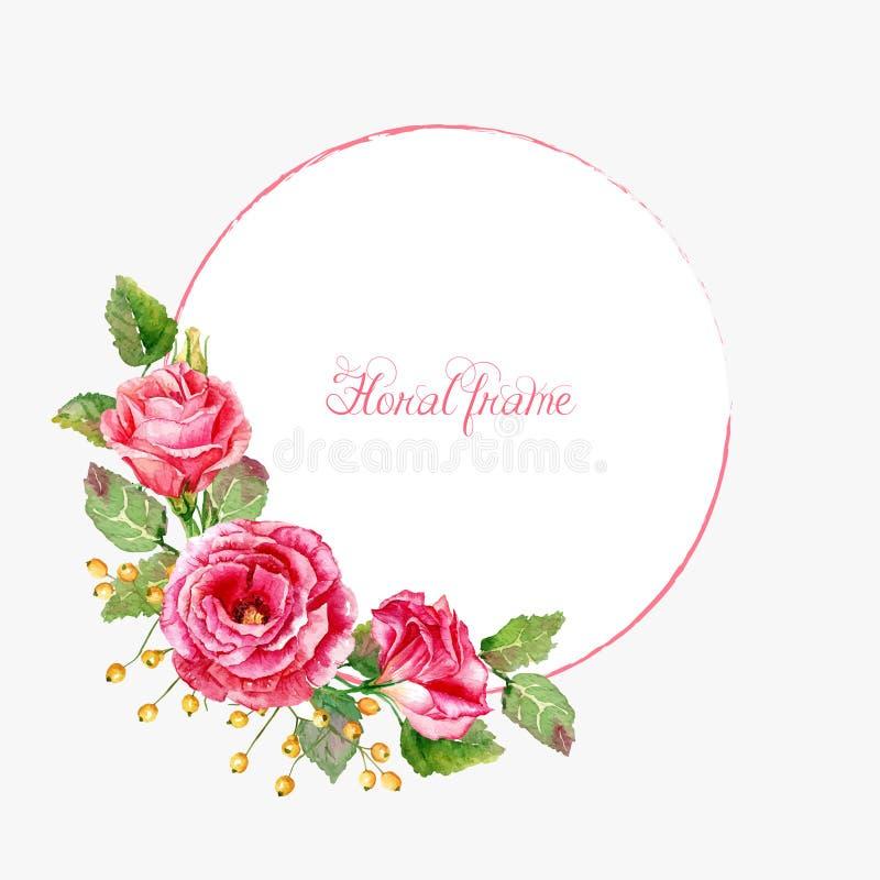Runder Rahmen von roten Rosen des Aquarells stock abbildung