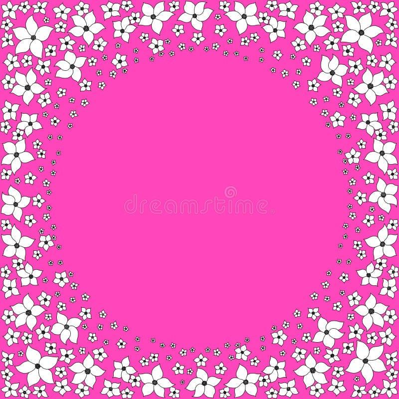 Runder Rahmen von wei?en dekorativen Blumen auf einem hellen rosa Hintergrund stock abbildung