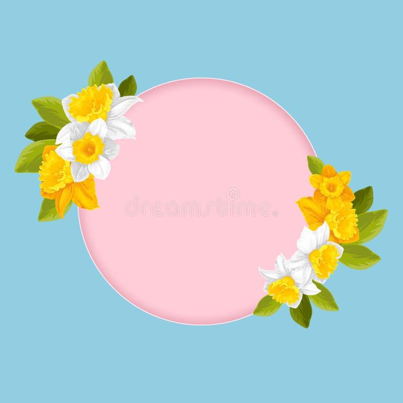 Runder rosa Rahmen mit Blume ENV 10 lizenzfreie abbildung