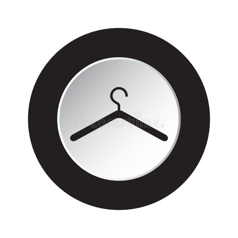 Runder Schwarzweiss-Knopf - Kleiderbügelikone stock abbildung