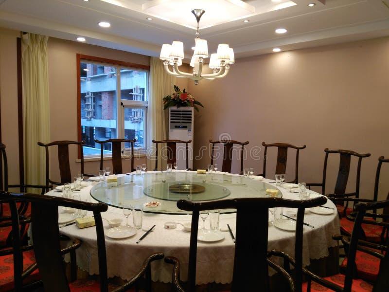 Runder Speisetisch in einem chinesischen Restaurant in China lizenzfreie stockfotografie