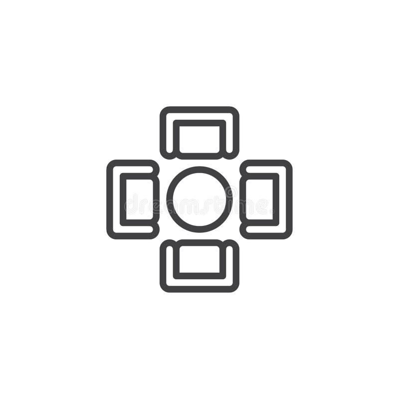 Runder Speisetisch mit Draufsicht-Entwurfsikone der Lehnsessel lizenzfreie abbildung