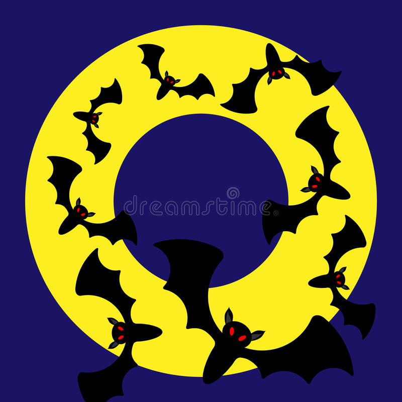 Runder Vektor Halloween-Rahmen mit Schlägern stock abbildung
