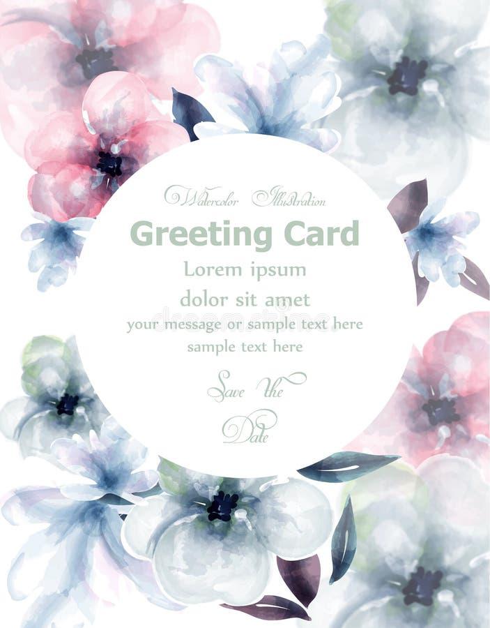 Runder Vektor Karte des Frühlingsblumenaquarells Empfindlicher blühender Blumenfahnendekor Einladungskarte, Hochzeitszeremonie lizenzfreie abbildung