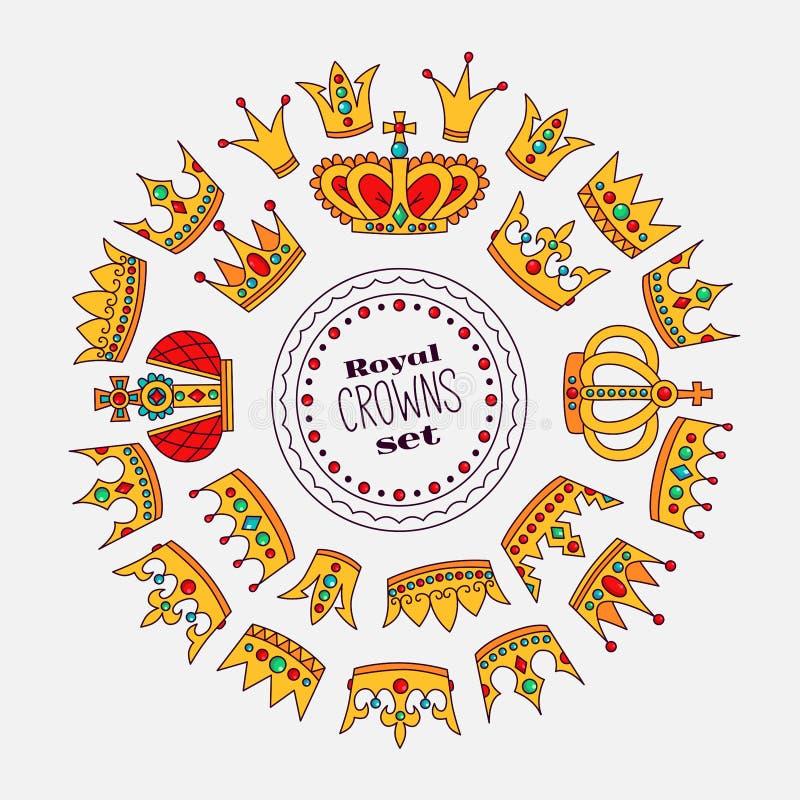 Runder Vektorrahmen der königlichen Kronengekritzelikonen vektor abbildung