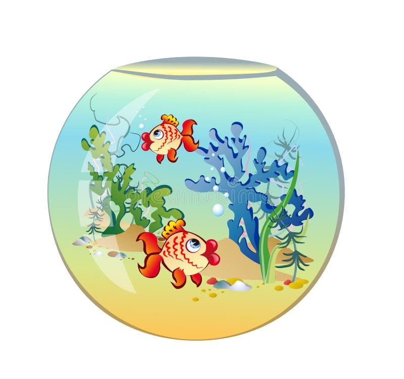 Rundes Aquarium mit Fischen lizenzfreie abbildung