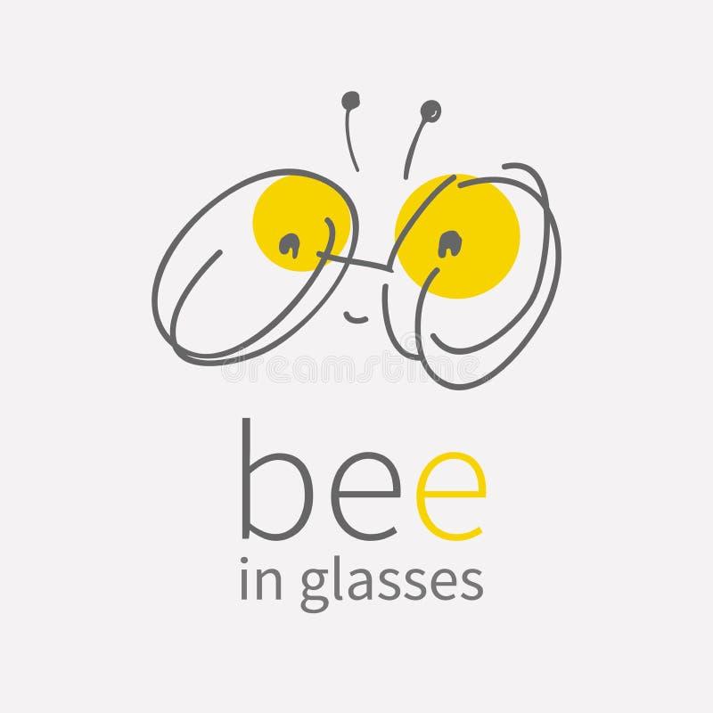 Rundes Augengläser Logo Lächelnde nette kleine Biene der linearen Karikatur des Handabgehobenen betrages Kawai-Wanzenikone Flache vektor abbildung