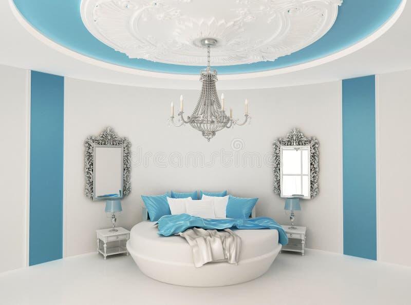 Rundes Bett im barocken Innenraum. lizenzfreie stockfotografie