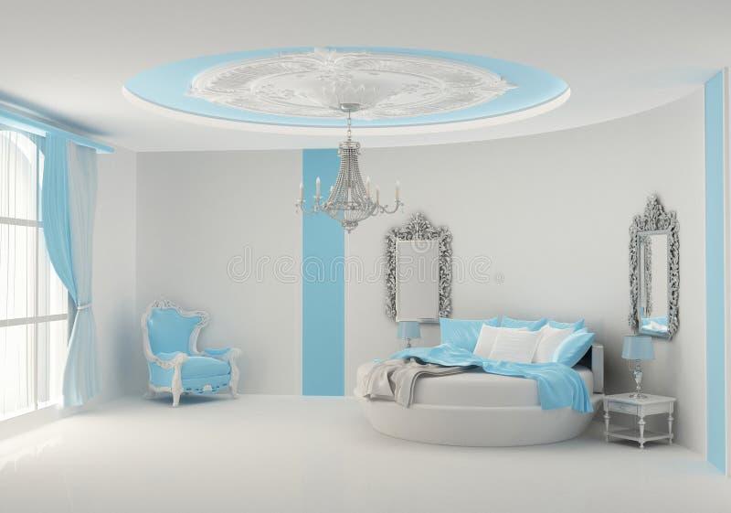 Rundes Bett Im Barocken Schlafzimmer Stock Abbildung - Illustration ...