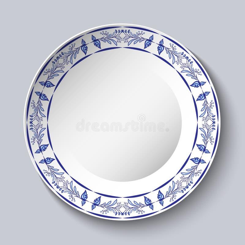 Rundes blaues Blumenfeld Styling basiert auf chinesischer oder russischer Porzellanmalerei Verzierung gezeigt in einem keramische vektor abbildung