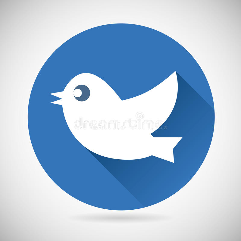 Rundes blaues Social Media Netz oder Internet-Ikonen-Vogel vektor abbildung