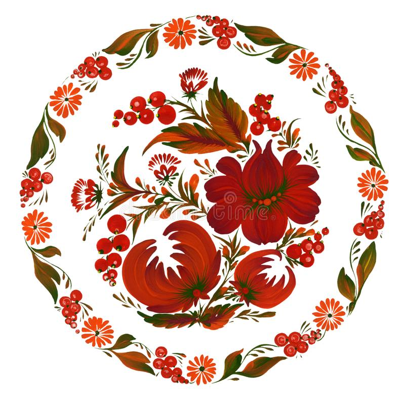 Rundes Blumenmuster Traditionelles ukrainisches Malerei petrikovka petrykivka vektor abbildung