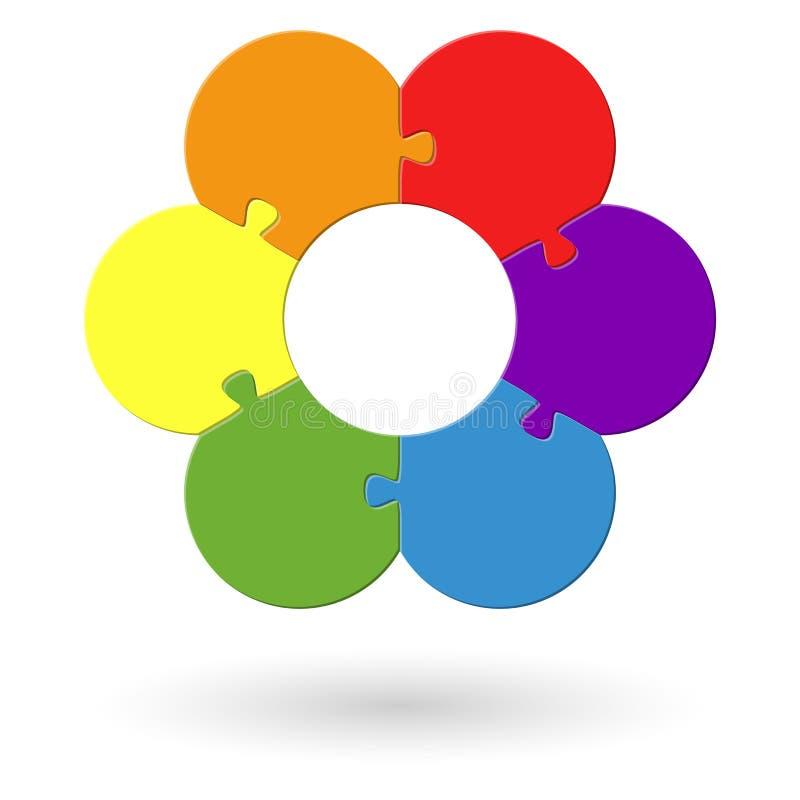 rundes Blumenpuzzlespiel gefärbt lizenzfreie abbildung