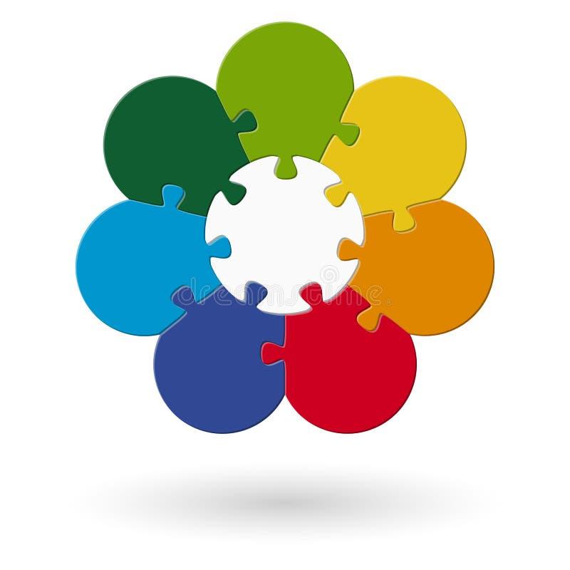 rundes Blumenpuzzlespiel gefärbt stock abbildung