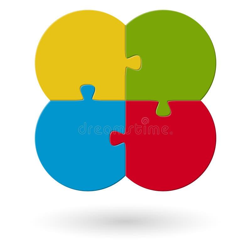 rundes Blumenpuzzlespiel gefärbt vektor abbildung