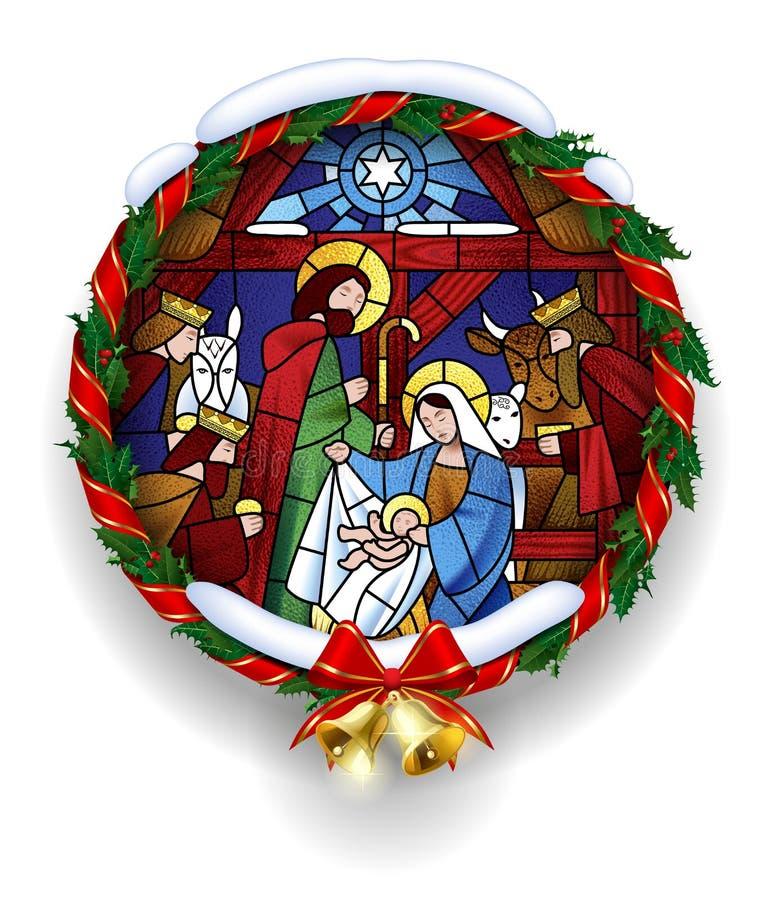 Rundes Buntglas mit der Weihnachtsszene im Stechpalmenkranz stock abbildung