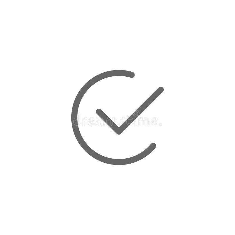 Rundes einfaches der flachen Ikone des Vektorkontrollprüfzeichens stock abbildung