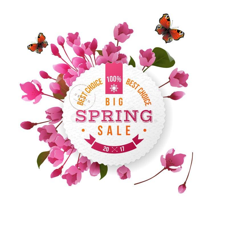 Rundes Emblem mit Kirschblütenblumen stock abbildung