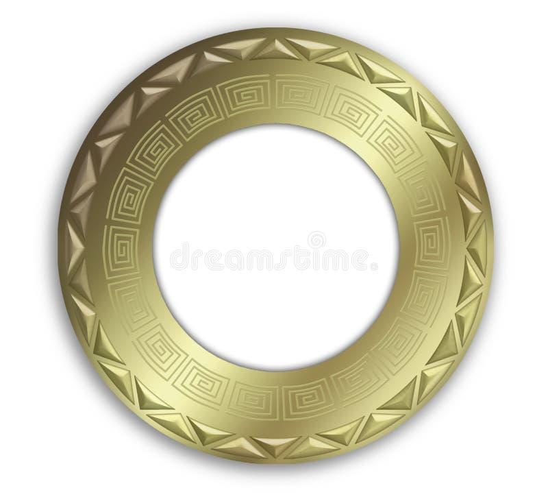 Rundes Feld der Weinlese Gold stock abbildung