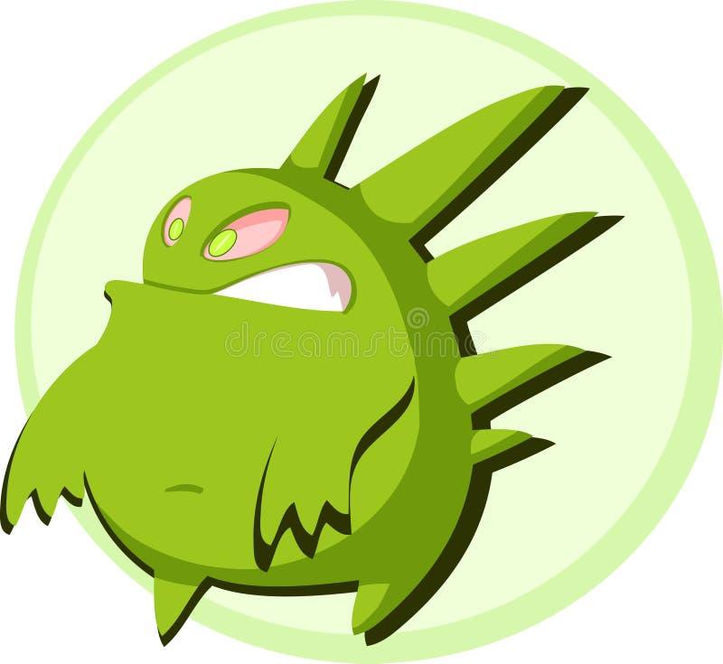 Rundes grünes Monster lizenzfreie abbildung