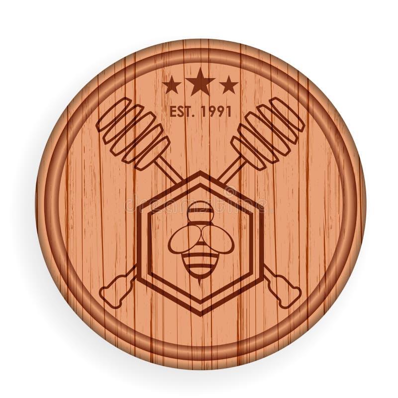 Rundes hölzernes Schild Honigelementschablone für Logoaufkleber Auch im corel abgehobenen Betrag lizenzfreie abbildung