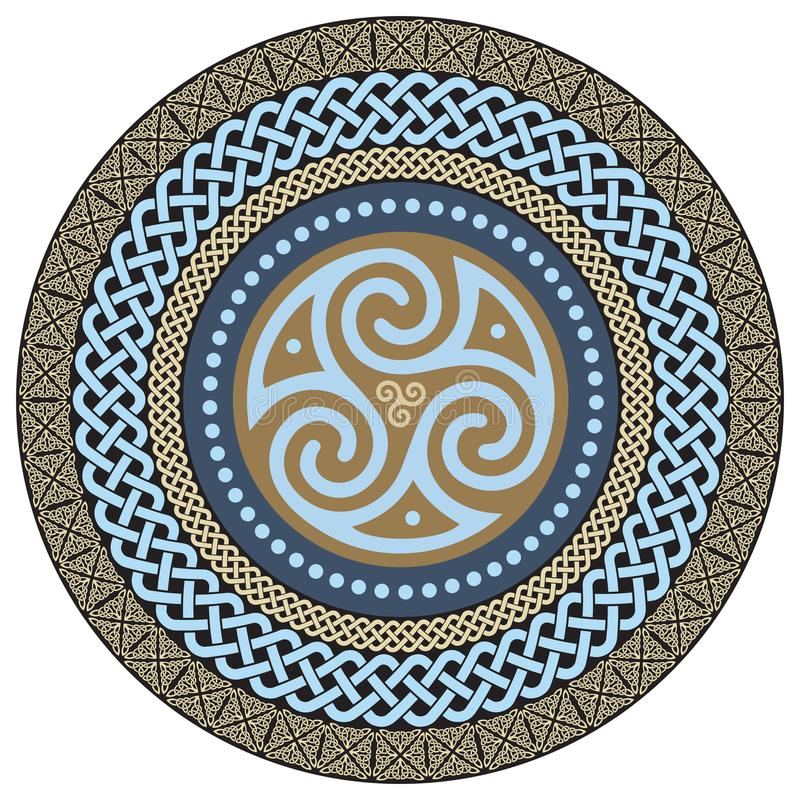 Rundes keltisches Design Alte keltische magische Mandala lizenzfreie abbildung